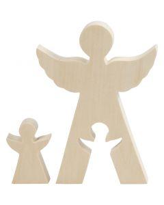 2in1 figuuri, Enkelit, Kork. 7,8+20 cm, syvyys 2 cm, Lev: 4,5+14,3 cm, 1 set