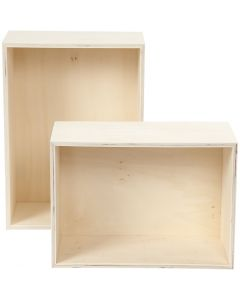 Säilytyslaatikot, suorakaiteet, Kork. 27+31 cm, syvyys 12,5 cm, Lev: 19,5+22,5 cm, 2 kpl/ 1 set