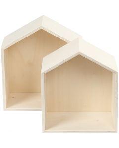 Säilytyslaatikot, talot, Kork. 22,5+25 cm, syvyys 12,5 cm, Lev: 19,5+22,5 cm, 2 kpl/ 1 set