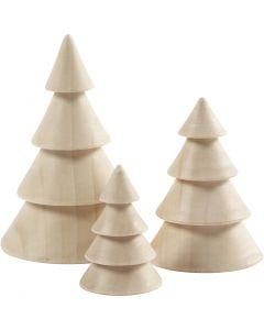 Joulukuuset, Kork. 5+7,5+10 cm, halk. 3,5+5,4+6,7 cm, 3 kpl/ 1 pkk