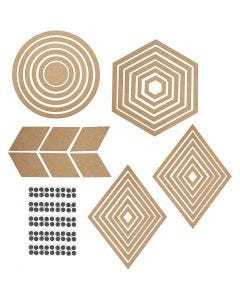 Seinäkoristeet, Kork. 5,5-29,5 cm, Lajitelman sisältö voi vaihdella , 10 set/ 1 pkk