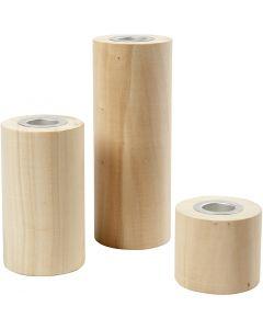 Kynttilänjalat, Kork. 14,5+9+6,5 cm, aukon koko 2,3 cm, 3 kpl/ 1 pkk
