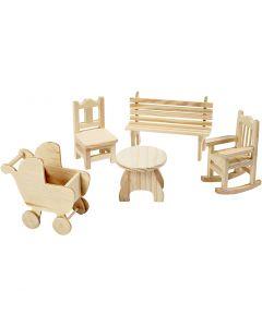 Minihuonekalut, puutarhapöytä, lastenrattaat, minituoli, keinutuoli, penkki, Kork. 5,8-10,5 cm, 50 kpl/ 1 pkk