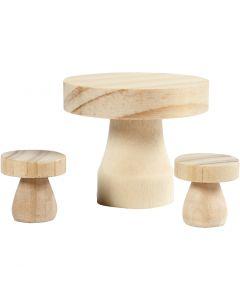 Sienipöytä ja -tuolit, koko 2,5x2,5 cm, 1 set