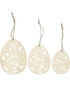 Ornamentit, Kork. 8+10+12 cm, Lev: 6+7,5+9 cm, 3 kpl/ 1 pkk