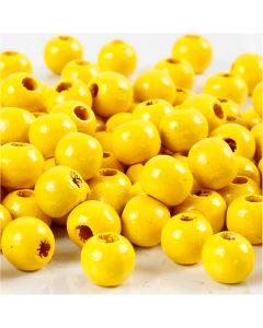 Puuhelmet, halk. 8 mm, aukon koko 2 mm, keltainen, 15 g/ 1 pkk, 80 kpl
