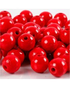 Puuhelmet, halk. 10 mm, aukon koko 3 mm, punainen, 20 g/ 1 pkk, 70 kpl