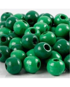 Puuhelmet, halk. 10 mm, aukon koko 3 mm, vihreä, 20 g/ 1 pkk, 70 kpl