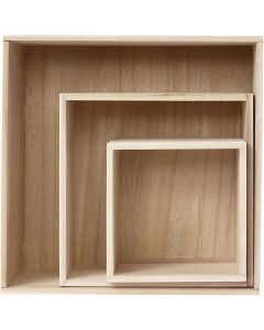 Säilytyslaatikot, Kork. 15x15+21,5x21,5+28x28 cm, syvyys 12,5 cm, 3 kpl/ 1 set
