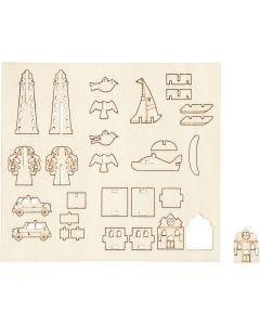 Koottavat puukuviot, sekalaiset, Pit. 15,5 cm, Lev: 17 cm, 1 pkk