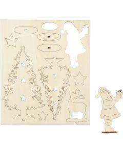 Koottavat puukuviot, joulupukki, kuuset, poro, Pit. 20 cm, Lev: 17 cm, 1 pkk