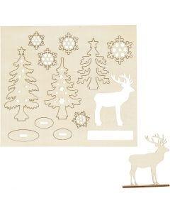 Koottavat puukuviot, metsä ja kauriit, Pit. 15,5 cm, Lev: 17 cm, 1 pkk