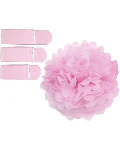 Pompomit, halk. 20+24+30 cm, 16 g, vaaleanpunainen, 3 kpl/ 1 pkk