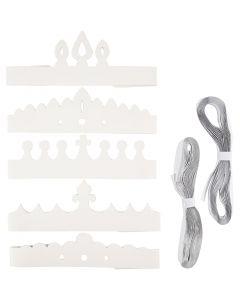 Kruunut, Kork. 10-16,5 cm, Pit. 60 cm, 230 g, valkoinen, 50 kpl/ 1 pkk