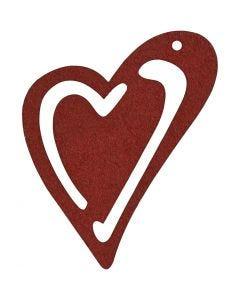 Sydän, koko 55x45 mm, viininpunainen, 10 kpl/ 1 pkk