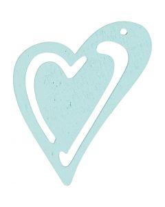 Sydän, koko 55x45 mm, turkoosi, 10 kpl/ 1 pkk