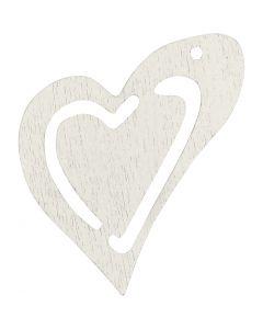 Sydän, koko 25x22 mm, valkoinen, 20 kpl/ 1 pkk