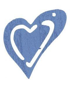Puinen sydän, koko 25x22 mm, vaaleansininen, 20 kpl/ 1 pkk