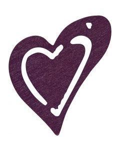 Puinen sydän, koko 25x22 mm, tumma lila, 20 kpl/ 1 pkk