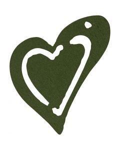 Puinen sydän, koko 25x22 mm, tummanvihreä, 20 kpl/ 1 pkk