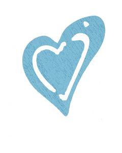 Puinen sydän, koko 25x22 mm, vaalea turkoosi, 20 kpl/ 1 pkk