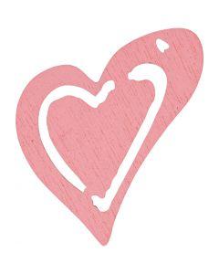 Puinen sydän, koko 25x22 mm, rosa, 20 kpl/ 1 pkk