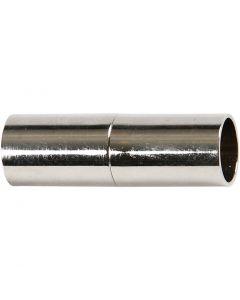 Magneettilukko, Pit. 23 mm, aukon koko 6 mm, hopeanväriset, 2 kpl/ 1 pkk