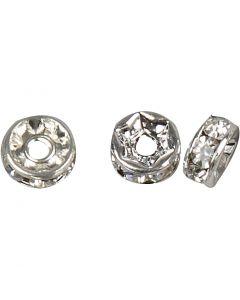Strassirondelli, halk. 6 mm, aukon koko 1,2 mm, hopeanväriset, 50 kpl/ 1 pkk