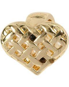 Korunosa, sydän, koko 13x11 mm, kullanvärinen, 1 kpl