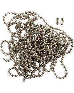 Kuulaketju, halk. 1,5 mm, hopeanväriset, 3 m/ 1 rll
