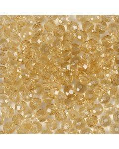 Fasettihiotut lasihelmet, koko 3x4 mm, aukon koko 0,8 mm, topaz, 100 kpl/ 1 pkk
