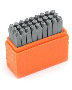 Pakotusleimasin (punsseli), pienet kirjaimet, koko 3 mm, Fontti: Bridgette  , 27 kpl/ 1 set