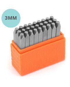 Pakotusleimasin (punsseli), pienet kirjaimet, koko 3 mm, Fontti: Helvetica , 27 kpl/ 1 set