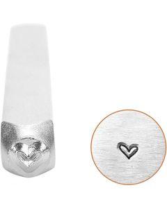 Pakotusleimasin (punsseli), sydän, Pit. 65 mm, koko 3 mm, 1 kpl