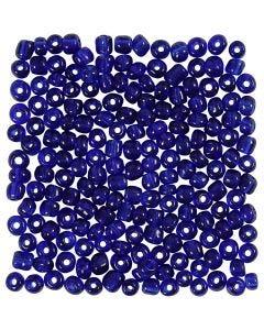 Rocaille-siemenhelmet, halk. 4 mm, koko 6/0 , aukon koko 0,9-1,2 mm, kobaltin sininen, 25 g/ 1 pkk
