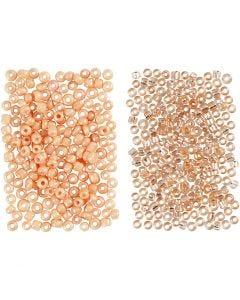 Rocaille-siemenhelmet, halk. 1,7 mm, koko 15/0 , aukon koko 0,5-0,8 mm, persikka, vaalea persikka, 2x7 g/ 1 pkk