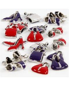 Riipukset, koko 12-20 mm, aukon koko 1-3 mm, musta, violetti, punainen, hopeanväriset, 20 laj/ 1 pkk