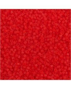 Siemenhelmet, Putki, halk. 1,7 mm, koko 15/0 , aukon koko 0,5 mm, kuulto punainen, 25 g/ 1 pkk