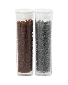 Siemenhelmet, Putki, halk. 1,7 mm, koko 15/0 , aukon koko 0,5 mm, ruskea, kuulto harmaa, 2x7 g/ 1 pkk