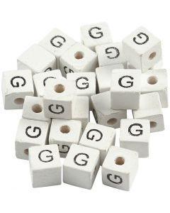 Kirjainhelmi, G, koko 8x8 mm, aukon koko 3 mm, valkoinen, 25 kpl/ 1 pkk