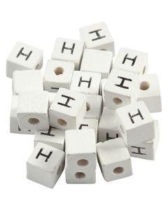 Kirjainhelmi, H, koko 8x8 mm, aukon koko 3 mm, valkoinen, 25 kpl/ 1 pkk