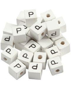 Kirjainhelmi, P, koko 8x8 mm, aukon koko 3 mm, valkoinen, 25 kpl/ 1 pkk