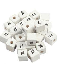 Symbolihelmi, #, koko 8x8 mm, aukon koko 3 mm, valkoinen, 25 kpl/ 1 pkk