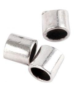 Nyörinpäät, koko 2x2 mm, aukon koko 1,4 mm, hopeanväriset, 80 kpl/ 1 pkk