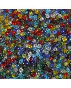 Rocaille-siemenhelmet, halk. 4 mm, koko 6/0 , aukon koko 0,9-1,2 mm, kirkas, 1000 g/ 1 pkk