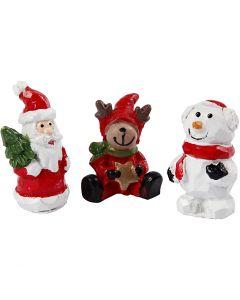 Pienet hahmot, joulupukki, poro ja lumiukko, Kork. 35 mm, Pit. 10 mm, 3 kpl/ 1 pkk