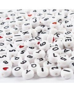 Kirjainhelmet, koko 7 mm, aukon koko 1,2 mm, valkoinen, 25 g/ 1 pkk