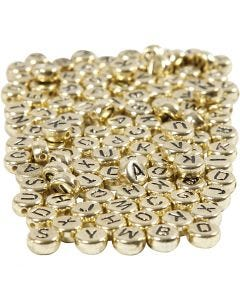Kirjainhelmet, halk. 7 mm, aukon koko 1,2 mm, kulta, 165 g/ 1 pkk