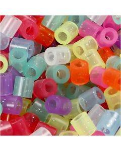 Putkihelmet, koko 5x5 mm, aukon koko 2,5 mm, medium, glitter värit, 6000 laj/ 1 pkk