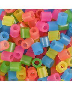 Putkihelmet, koko 5x5 mm, aukon koko 2,5 mm, medium, neonvärit, 1100 laj/ 1 pkk